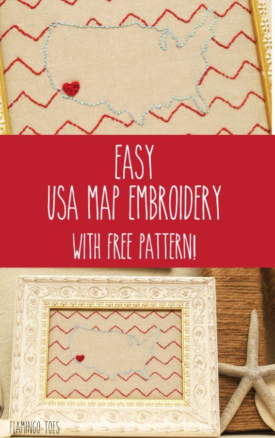 Easy USA Map Embroidery with Free Pattern Holiday Fourth of