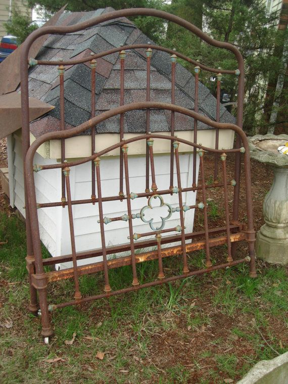 5039e07c98f53 beautiful old iron bed from france iron frame with brass decor. brass has  old patina. iron bed is rusty finish.would fit full size mattress. we have