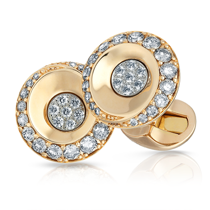 Faberge Fjodor Cufflinks This piece is set in 18 carat rose gold and feature champagne and white round diamonds.