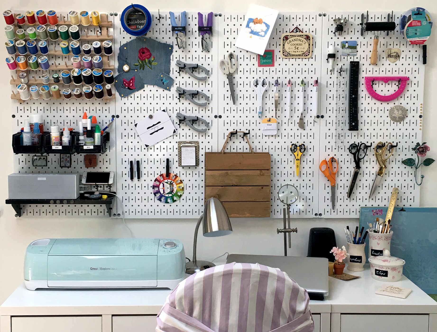 Wall Control Wall Mounted Pegboard Is Great For Hobby And Craft Supplies  Storage And Organization, Like This Wonderful Pegboard Craft And Sewing  Station.