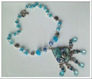 Beautiful blue necklace with rhinestones and crystal glass beads
