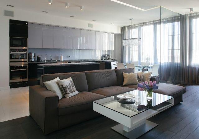wohnzimmer küche essecke offen wohnen neutrale farben moderne