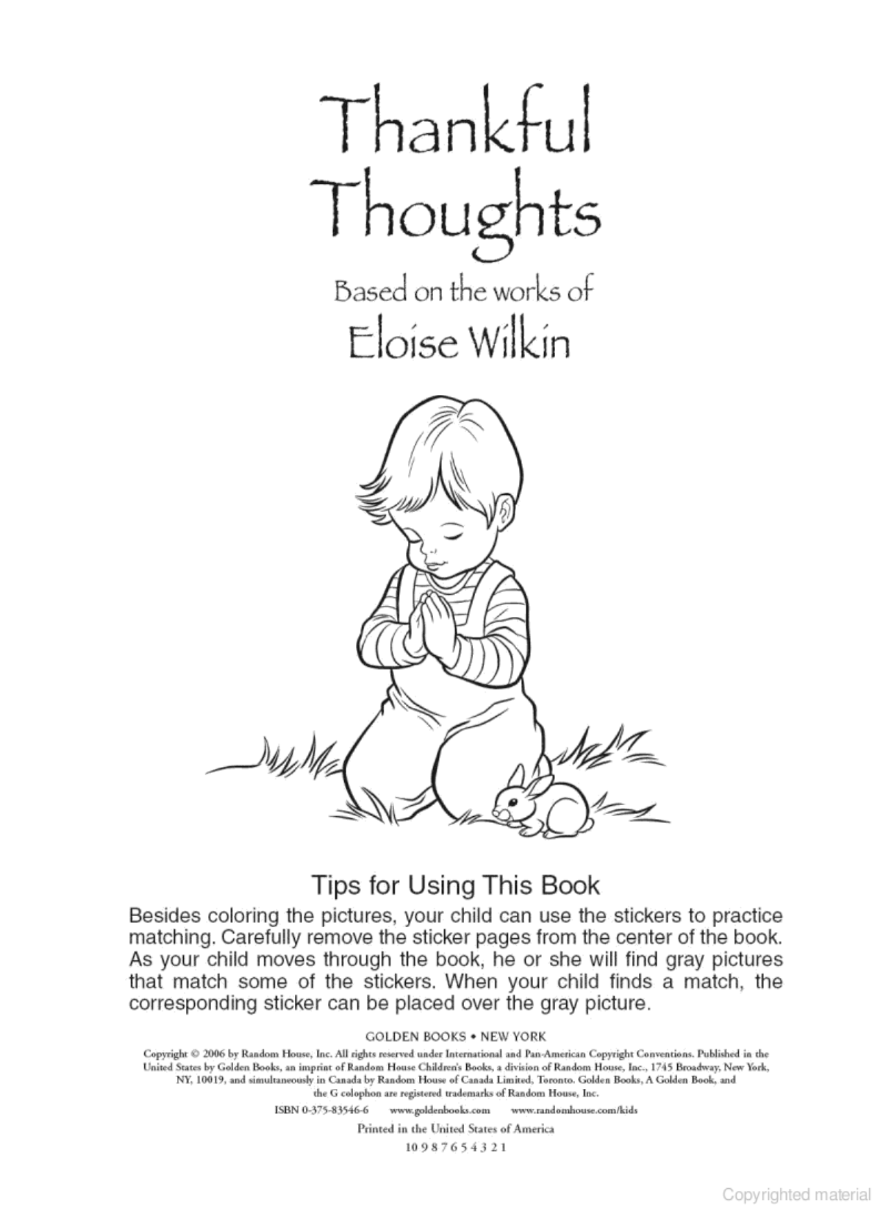 Thankful Thoughts Eloise Wilkin Golden Books Publishing Company Adapted From Wilkin S C Book Publishing Companies Prayers For Children Little Golden Books