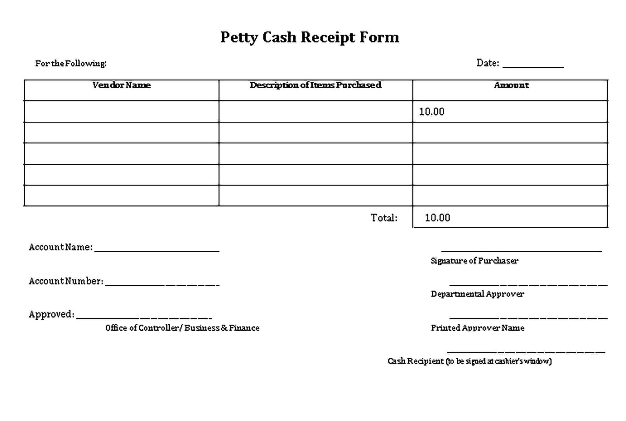 Sample Petty Cash Receipt Receipt Template Business Template Templates Petty cash receipt template free