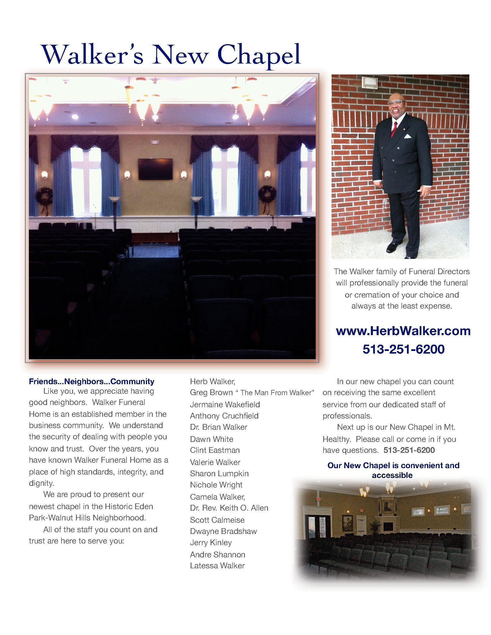 Walker Funeral Home Walnut Hills Chapel 513 251 6200 Www Herbwalker Com Funeral Home Funeral Chapel