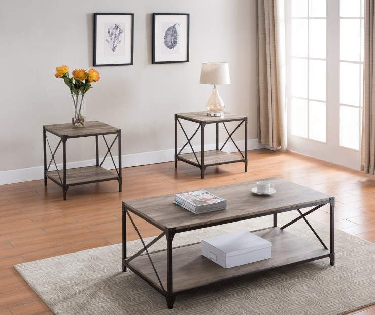 3 piece rustic occasional tables big