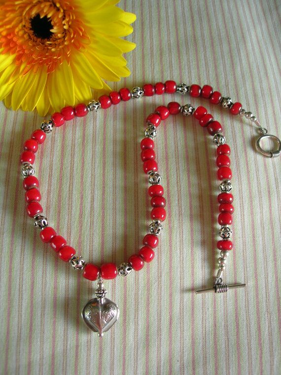 Red Italian Whitehearts & Sterling Heart by BlueSkyStudioArt, $65.00