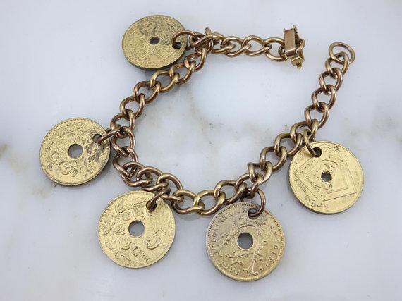 Coin Charm Bracelet - Gold and Silver Tone Bracelet 1950s Belgium Travel  Souvenir Jewelry Vintage Br b72c740fe59