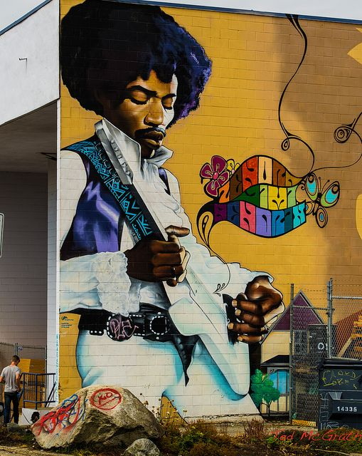 Hendrix Wall mural found on an industrial building in East Vancouver BC.