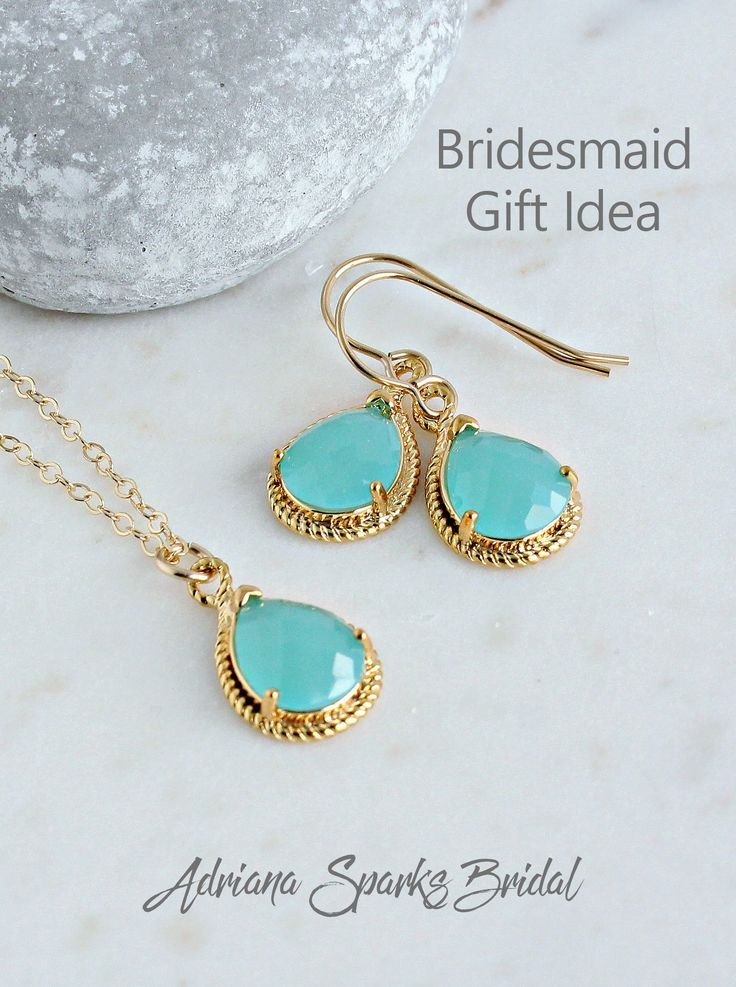 Mint Turquoise Bridesmaid Jewelry Set Bridesmaid Necklace Gold