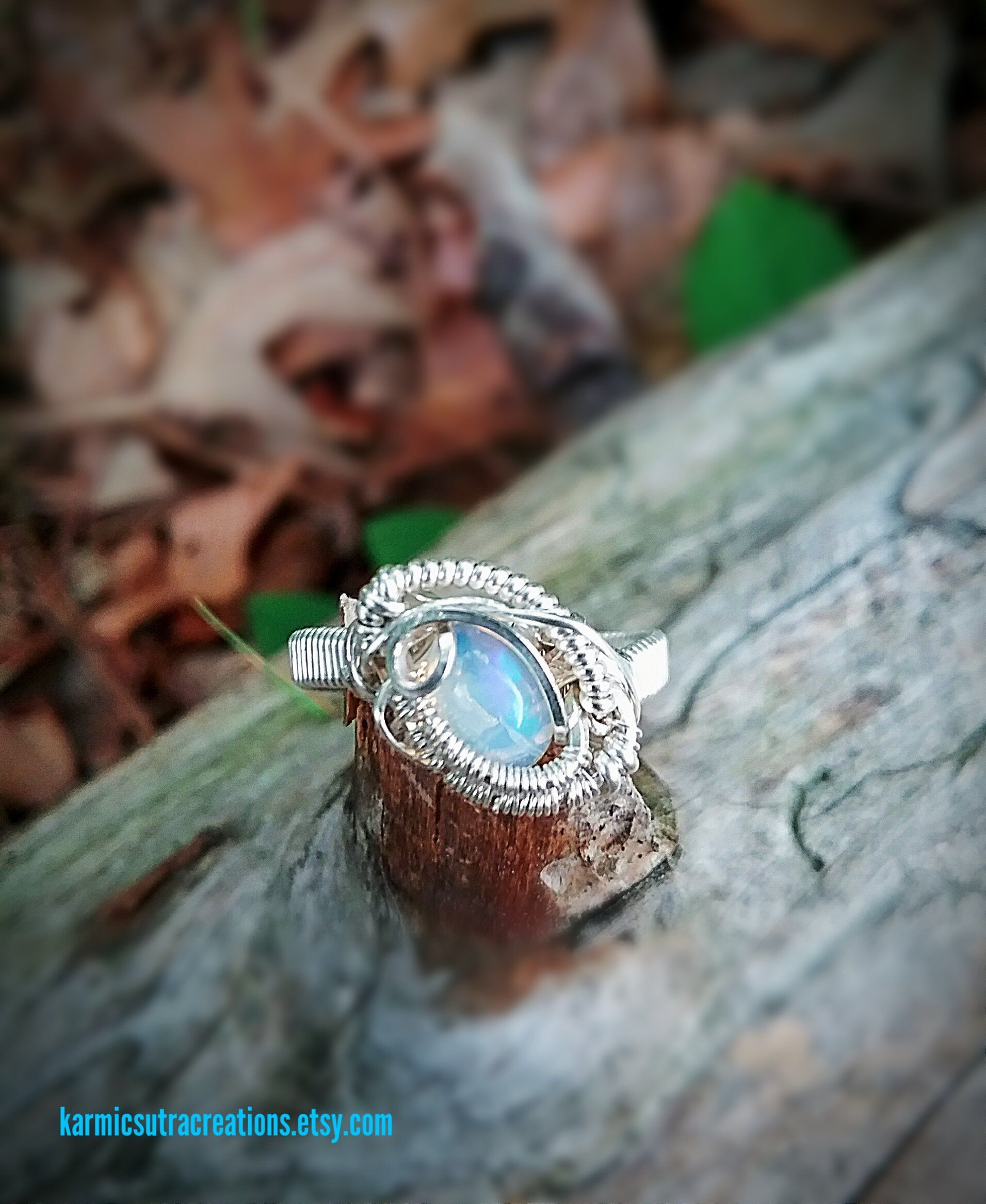 Flashy Welo Opal in Sterling Silver Boho Style Wire Wrap