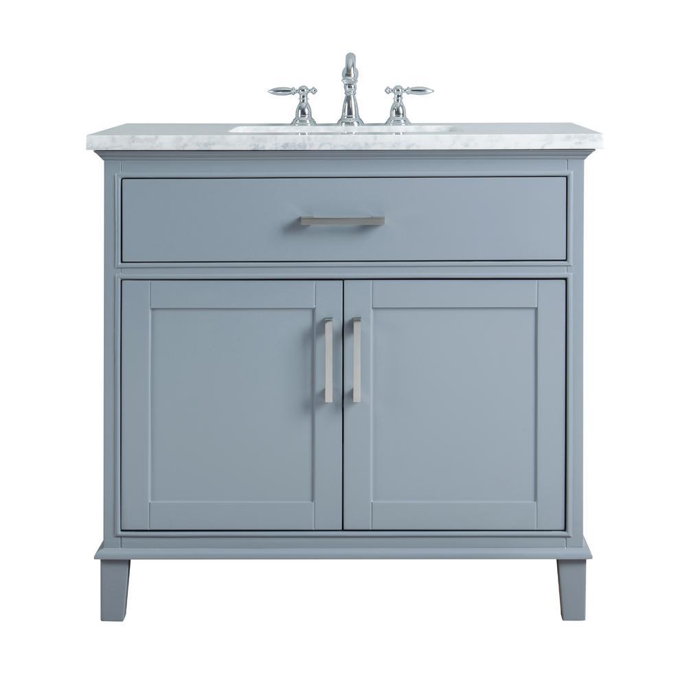 Stufurhome 36 In Leigh Single Sink Bathroom Vanity In Grey With Carrara Marble Vanity Single Sink Bathroom Vanity Beautiful Bathroom Vanity Single Sink Vanity