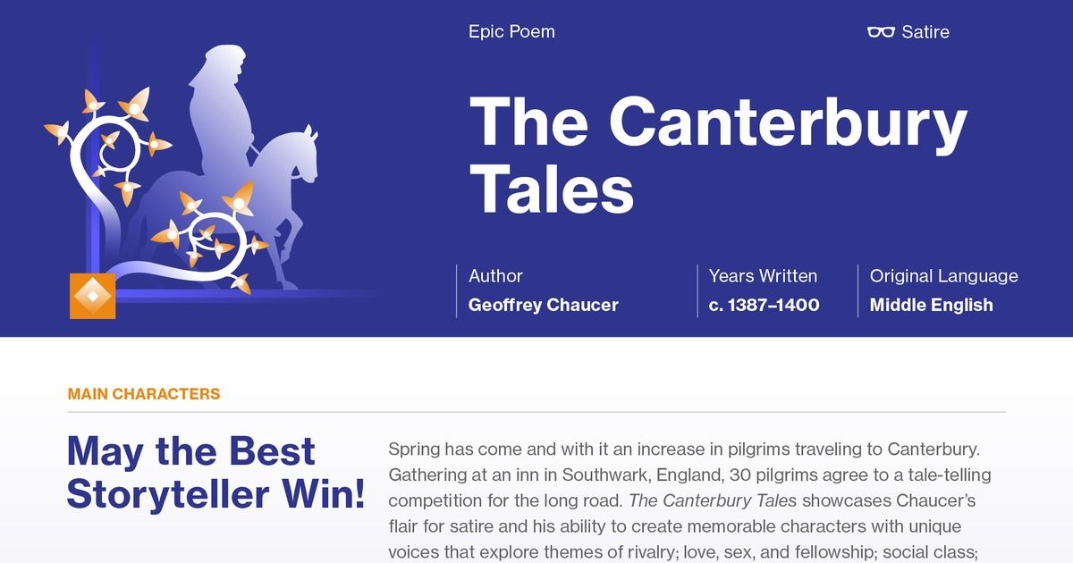 The Canterbury Tales Section Summaries School Pinterest