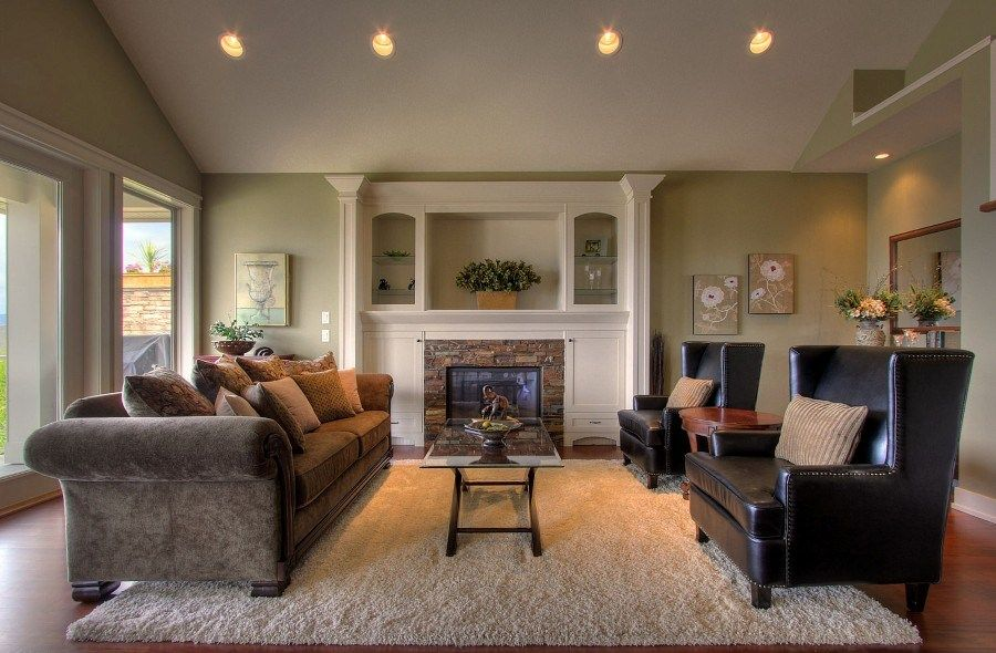 Living Room: Compact Fireplace Cabinets Also Black Leather Accent ...