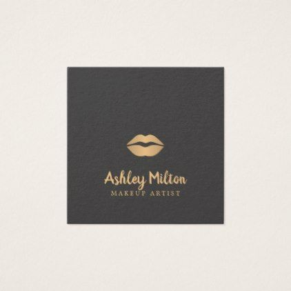 Simple elegant dark faux gold lips makeup artist square business simple elegant dark faux gold lips makeup artist square business card reheart Gallery