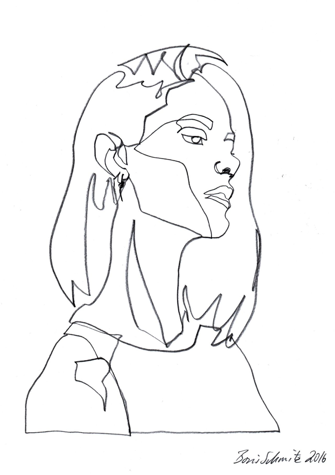 "Contour Line Drawing Person : ""gaze continuous line drawing by boris schmitz art"