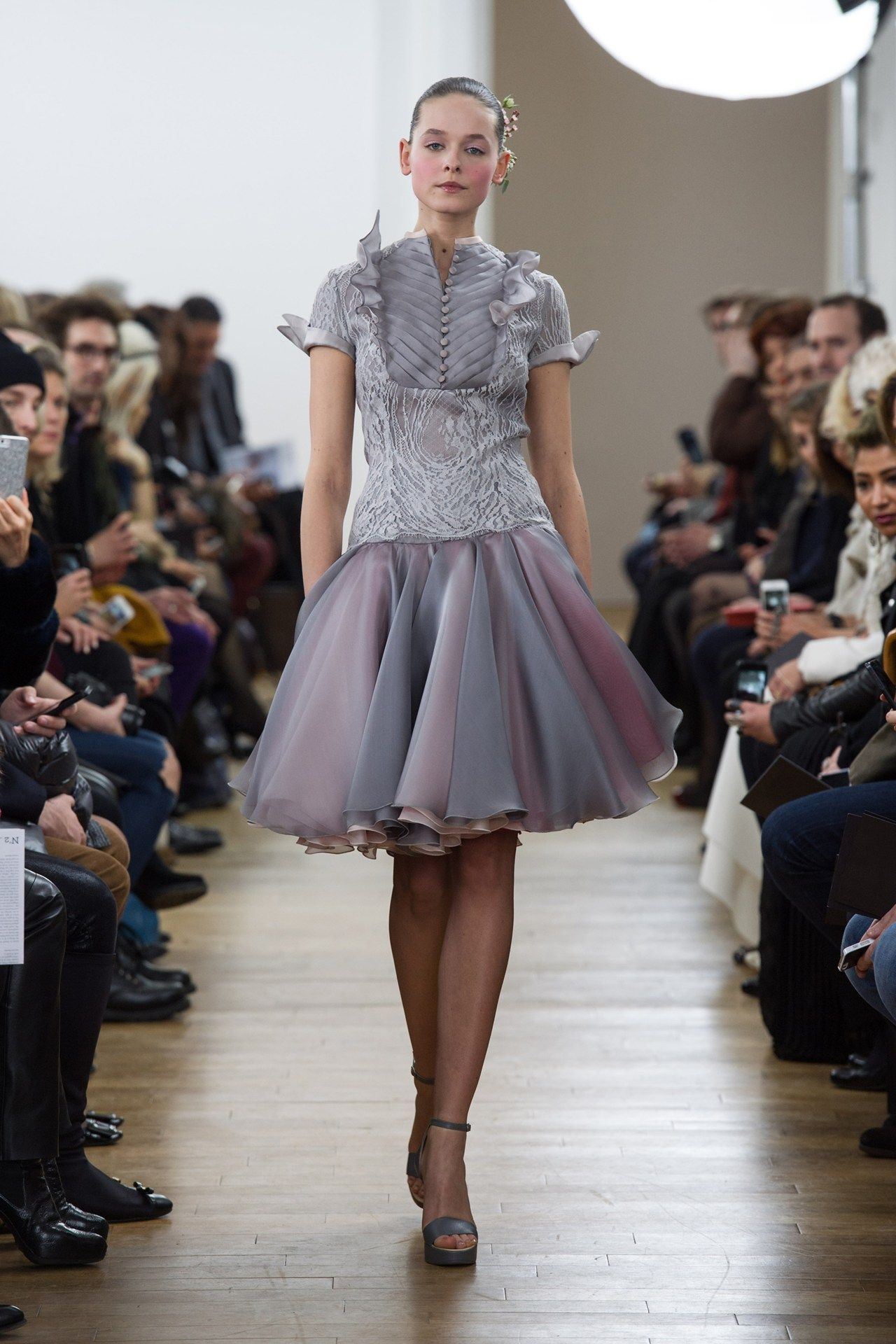 Full skirt dress with lovely detail to the chest Julien Fournie s/s couture 2014