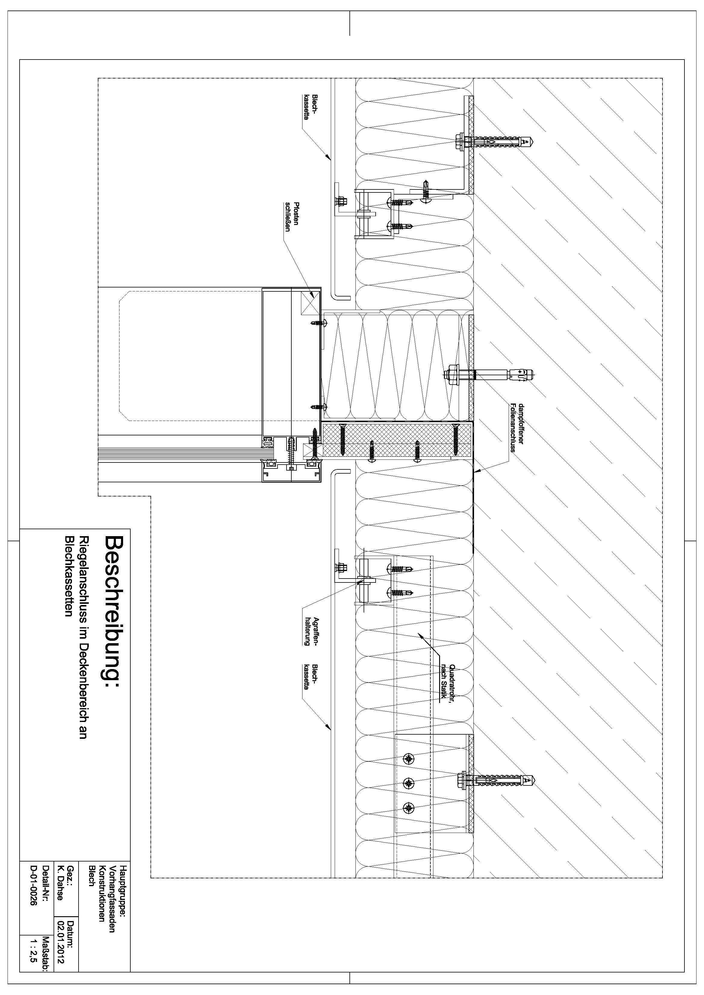 D-01-0026 Riegelanschluss im Deckenbereich an Blechkassetten
