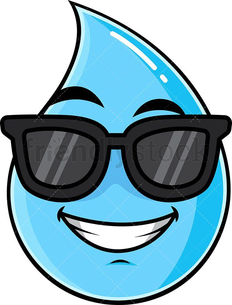 Cool Raindrop Wearing Sunglasses Emoji Cartoon Clipart Vector Friendlystock Cartoon Clip Art Cartoon Faces Emoji Clipart