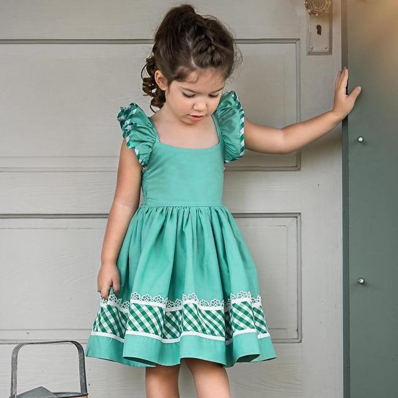 US Girls Plaid Sleeveless Dress Kids Backless Bow Princess Dress Beach Sundress