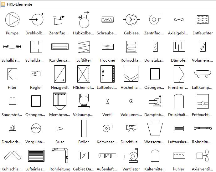 Symbole für HVACGeräte Zentrifuge, Anlage
