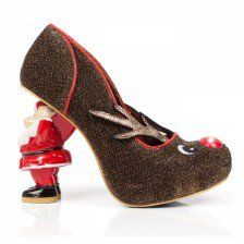 """Rudolph with your nose so bright won't you guide my sleigh tonight?"" Prancer around the xmas tree this season with these super cute heels. Featuring gold glitter uppers, Santa character heels and light up Rudolph nose."