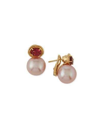 Belpearl 18k Pink Tourmaline & Pearl Earrings qBcGXrD42F