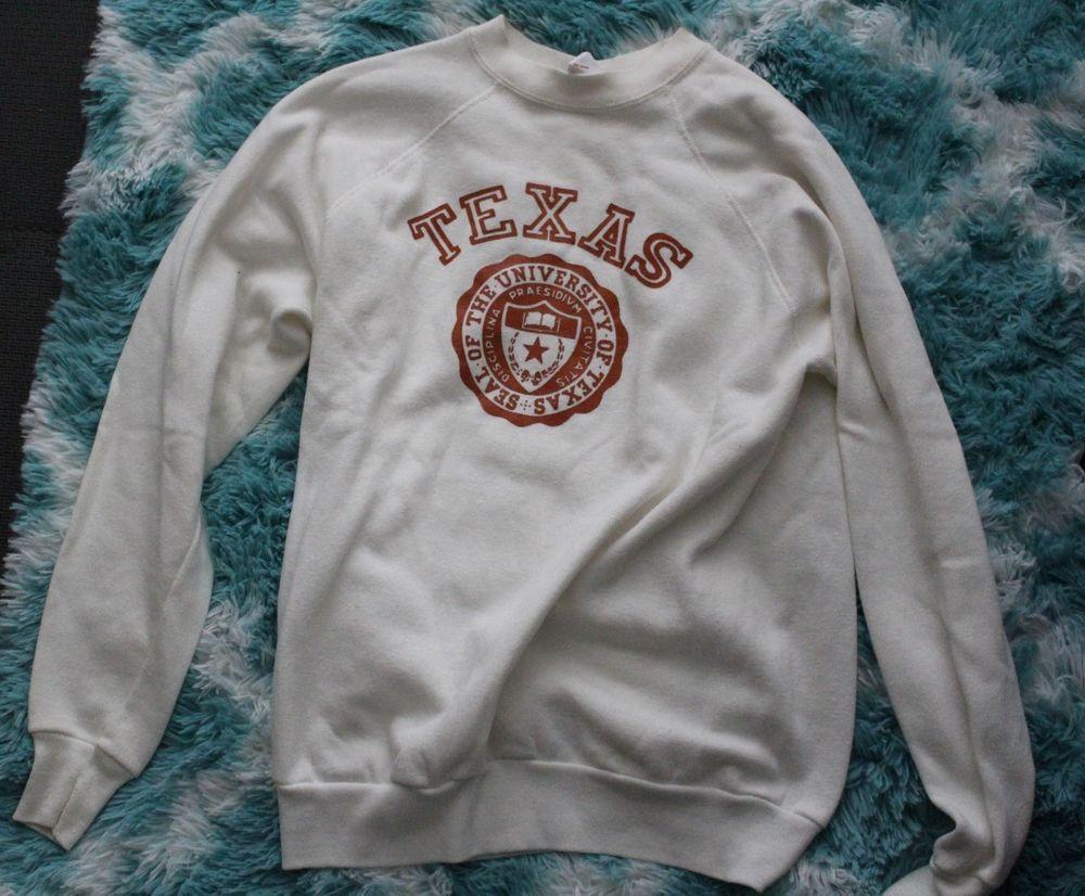 New W O Tags Ut Austin White Vintage Sweatshirt With Ut Logo Size L Fashion Clothing Shoes Accessories Sweatshirts Vintage Sweatshirt Ut Austin Clothes [ 826 x 1000 Pixel ]