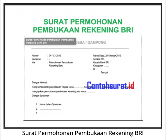 Surat Permohonan Pembukaan Rekening Surat Rekening Bank Tanda