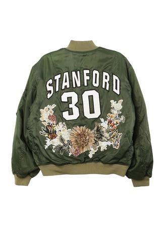 Stanford Floral Needlepoint Bomber