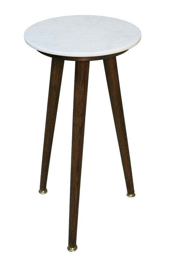 Round White Marble Danish Side Table