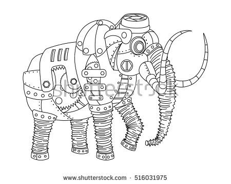 Steampunk style mammoth. Mechanical animal. Coloring book