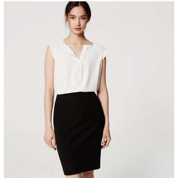 LOFT Petite Custom Stretch Pencil Skirt ($70) ❤ liked on Polyvore featuring skirts, black, loft skirts, stretch skirt, zipper pencil skirt, long stretchy skirts and zipper skirt