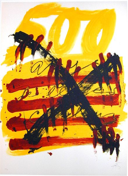 Antoni Tapies - 500 Years of Catalonian Books, 1974, lithograph on paper