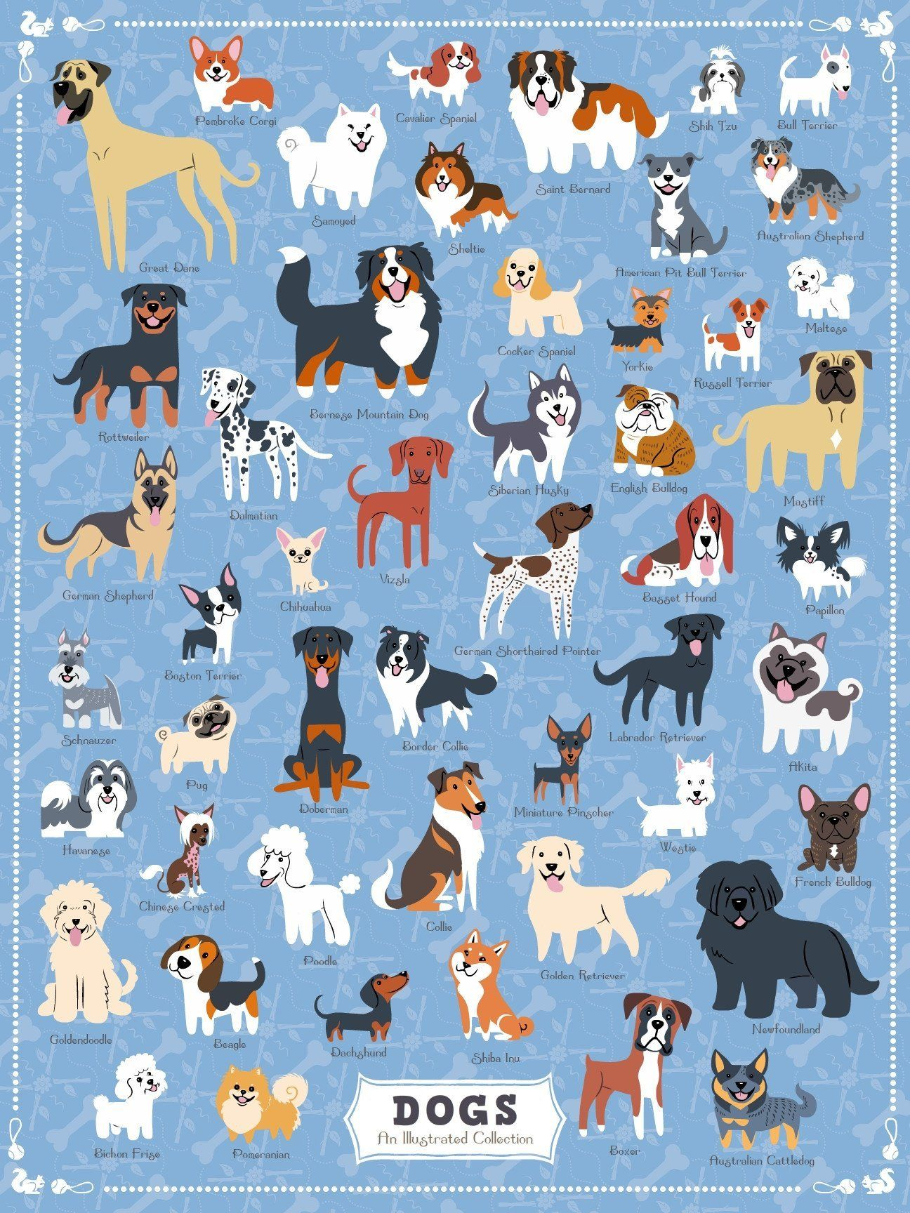Dogs Of America 500 Piece Jigsaw Puzzle Cute Animal Drawings