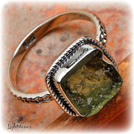 Czech Moldavite  Sterling silver 925 Ring by LightstonesCrystals, $32.99