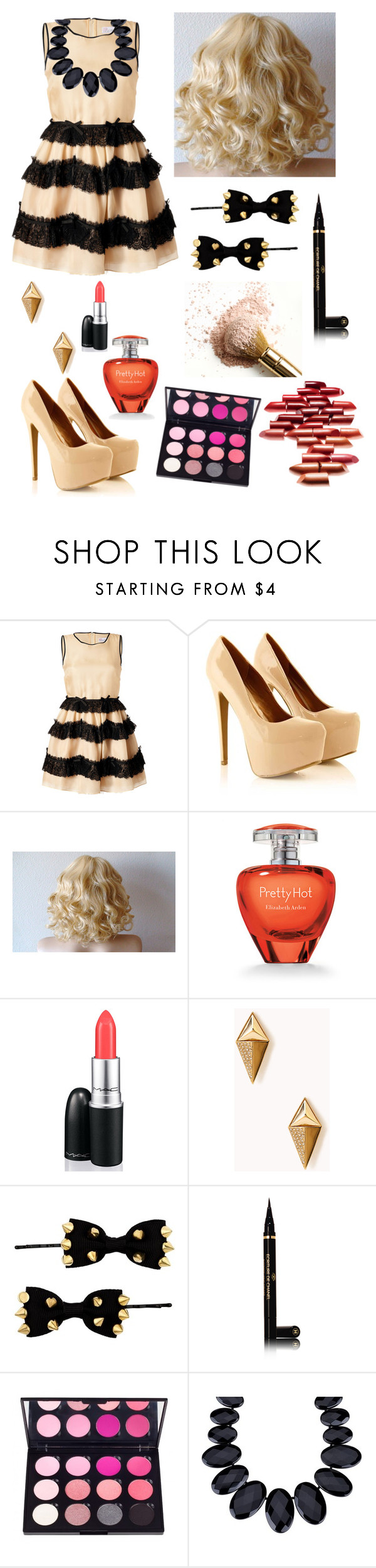 """K"" by emmajrobertson ❤ liked on Polyvore featuring beauty, RED Valentino, Elizabeth Arden, MAC Cosmetics, Forever 21, Red Herring, Chanel and Lola Rose"