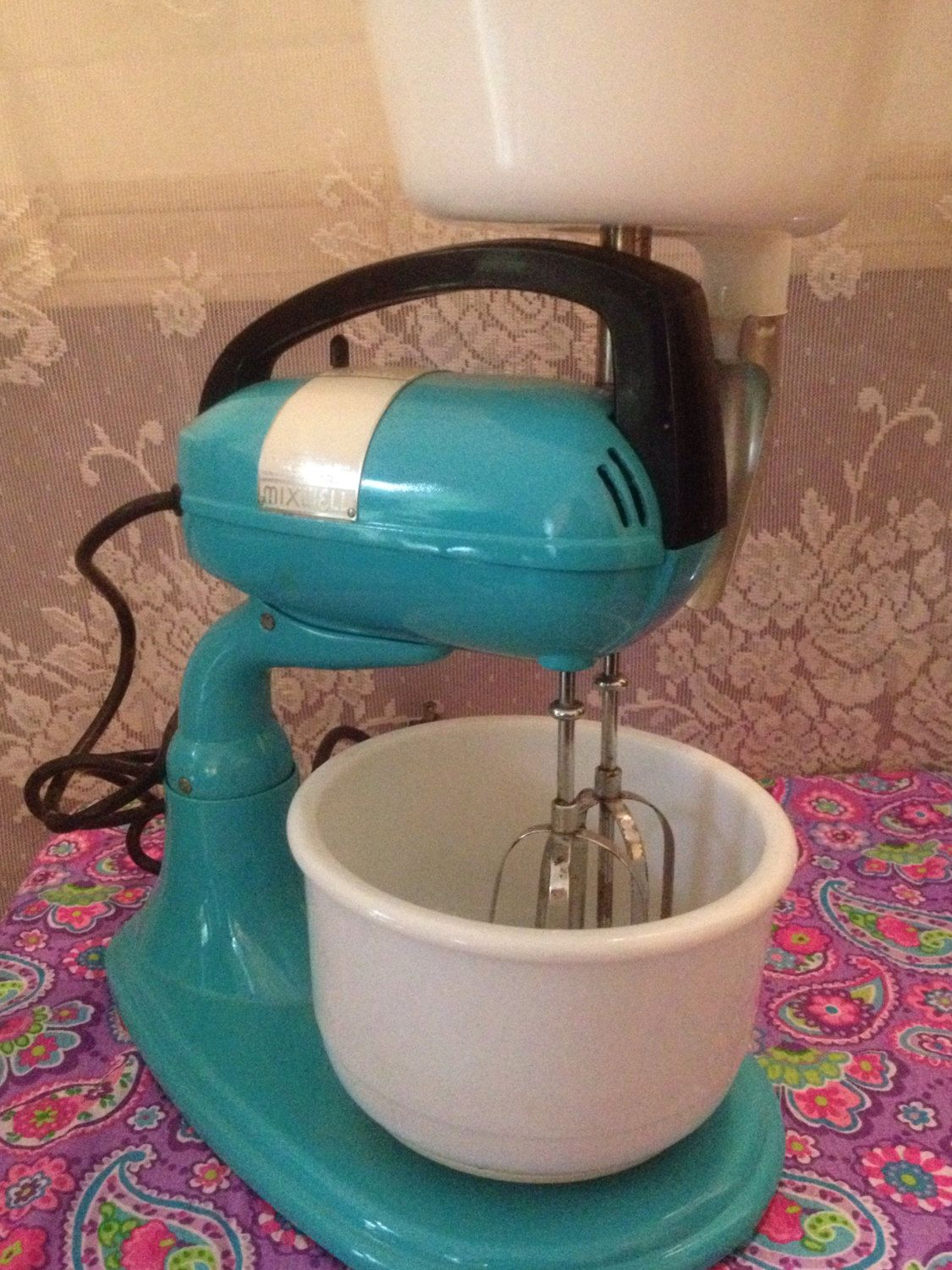 Vintage Dormeyer Mixwell refurbished turquoise standmixer complete with juicer and mixing bowl, vintage stand mixers, retro mixers by LakesideVintageShop on Etsy