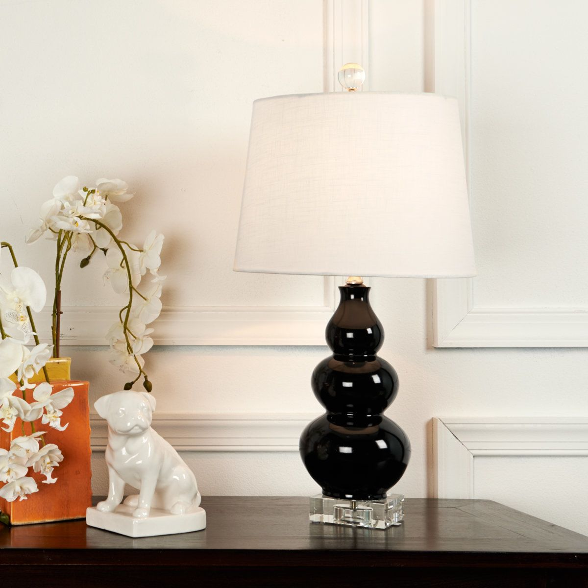 Triple gourd mini table lamp drum shade nest and linens