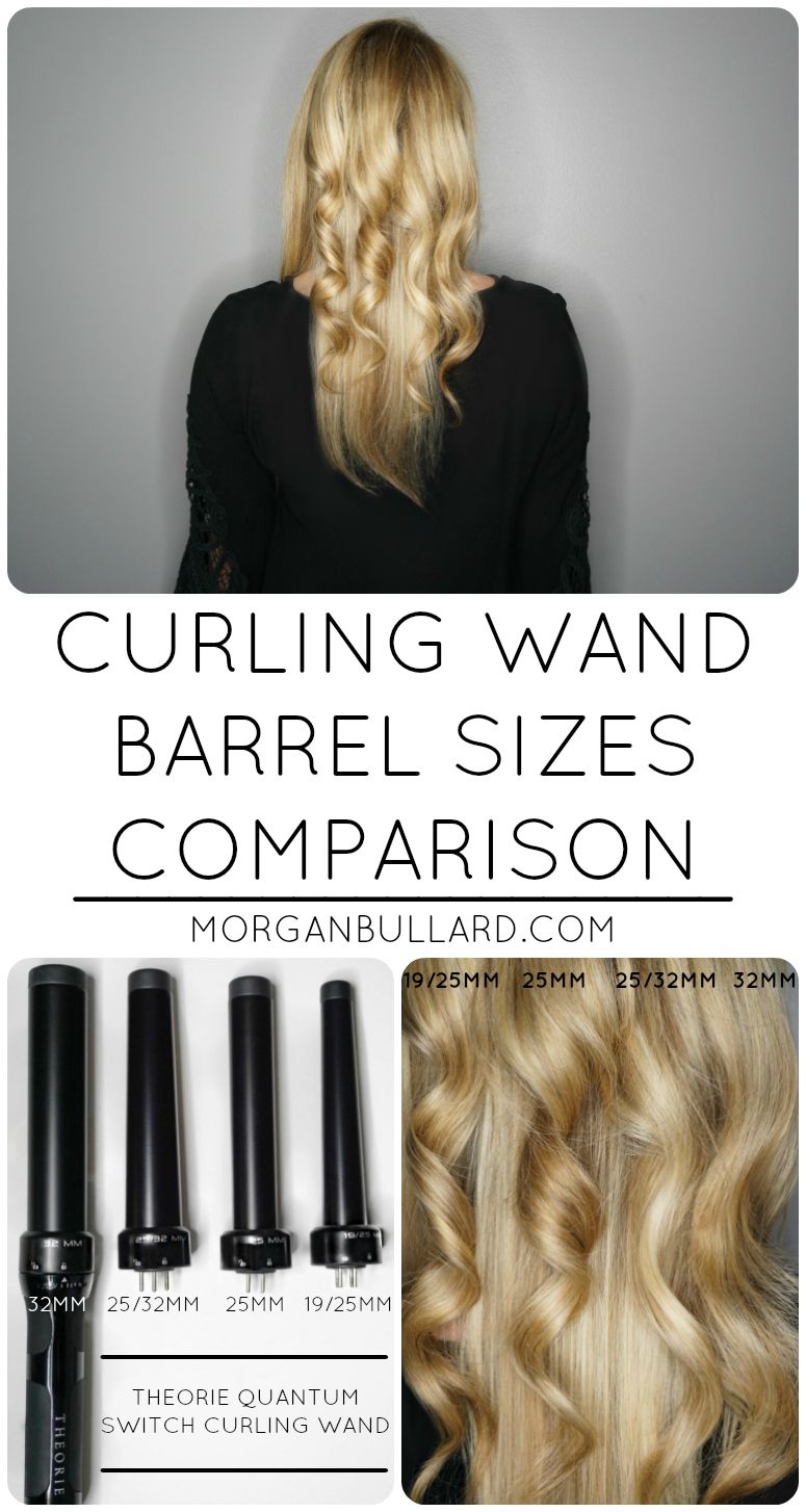 Different Curling Wand Barrel Sizes Comparison Of Curls Using The 25 Mm 32 Mm 19 Mm Attachments From Wand Curls Curling Wand Short Hair Curling Hair With Wand