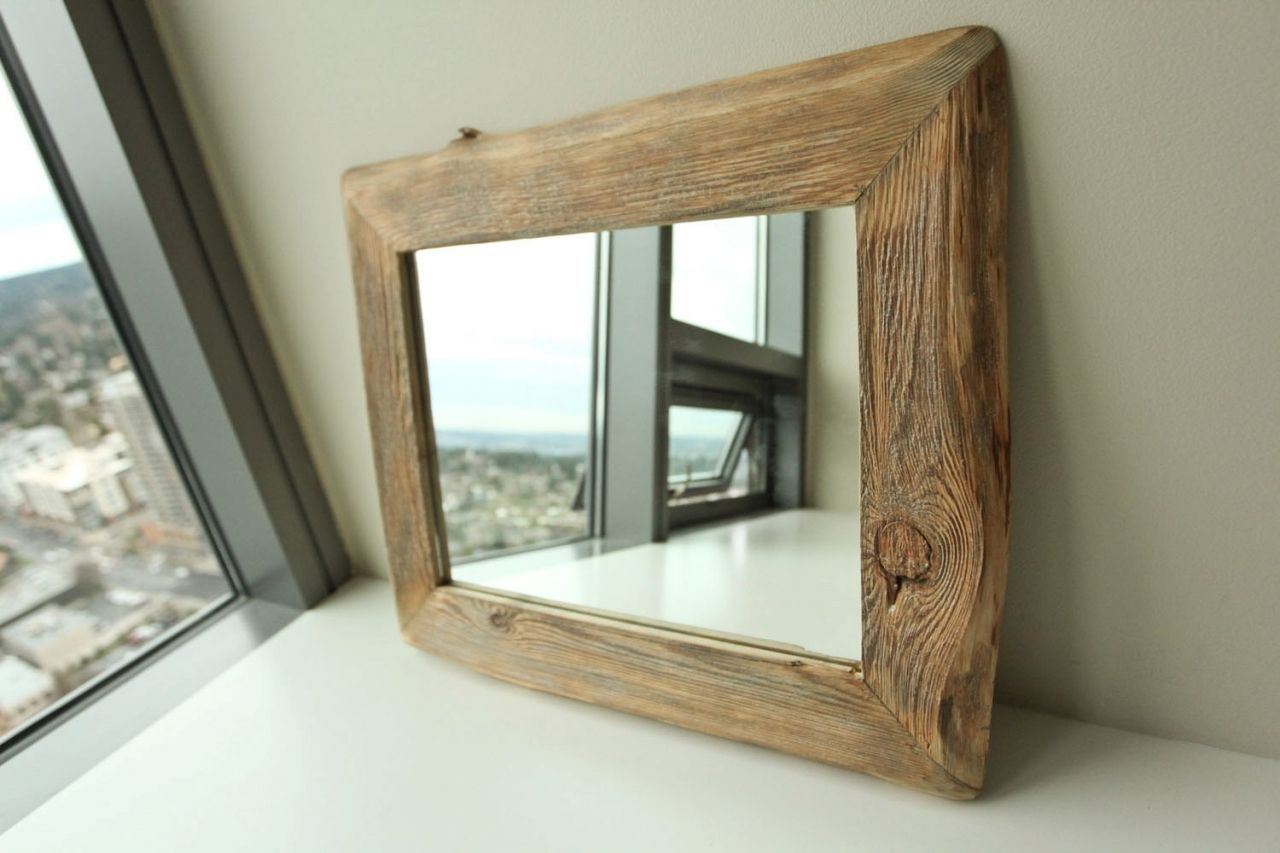 custom made bunkhouse barnwood mirror with nailhead tacks reclaimed wood its these little effects that make all the difference picture frames - Mirror Wood Frame