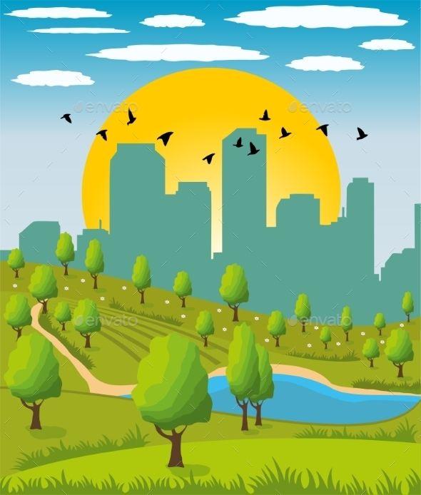 City Park Park City Landscape Illustration Cartoon Background