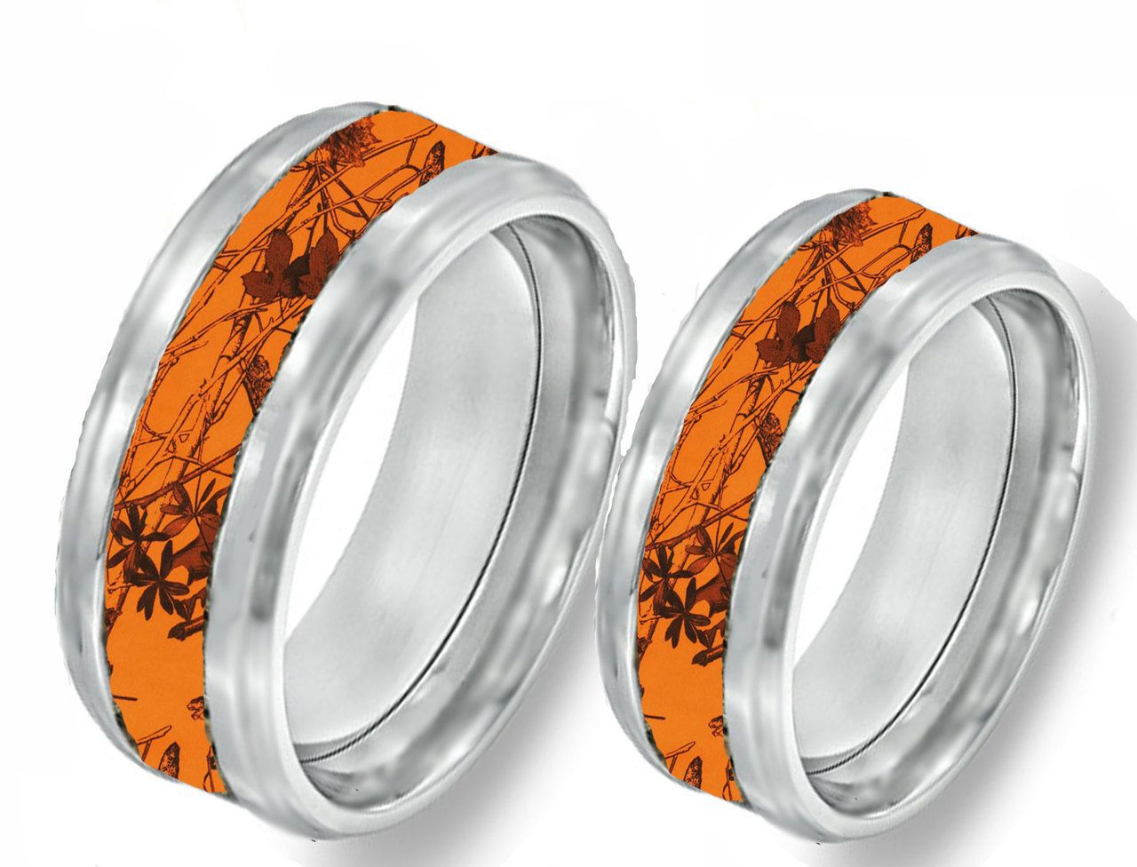 orange camo band couples ring set - Orange Camo Wedding Rings