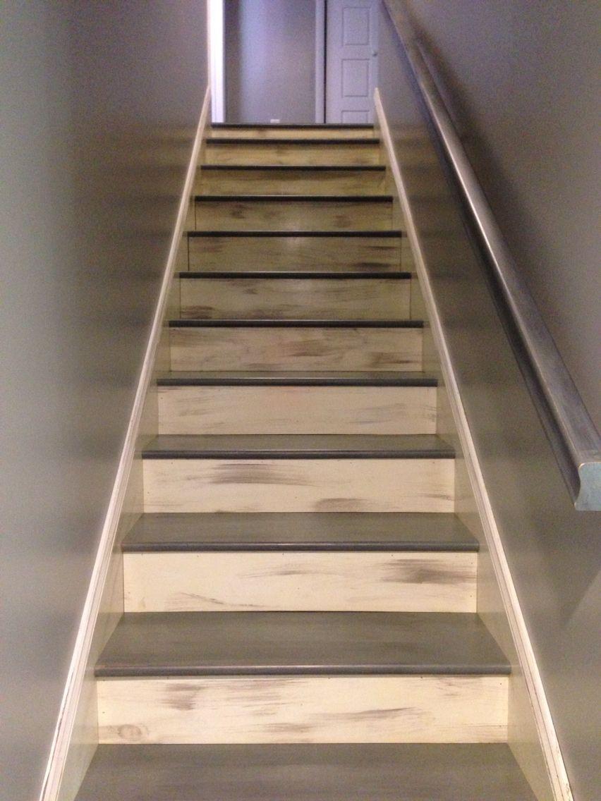 graycreme distressed stairs