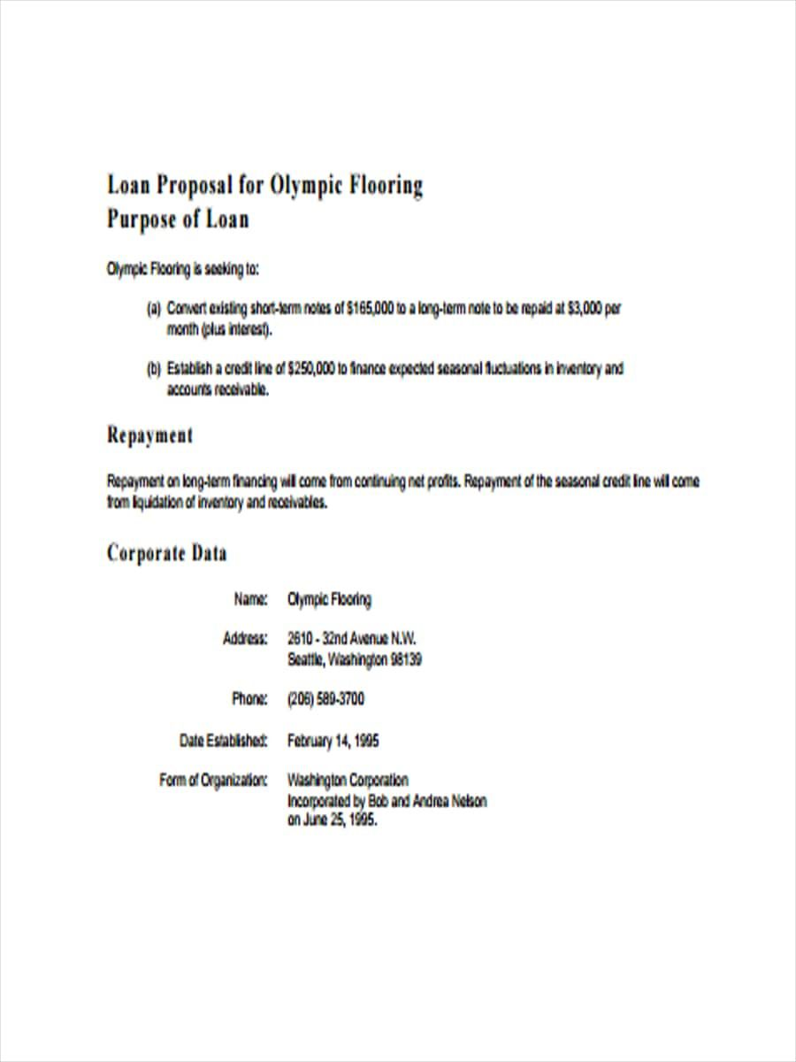 The Inspiring 10 Loan Proposal Examples Pdf Word Examples Within Business Proposal For Bank