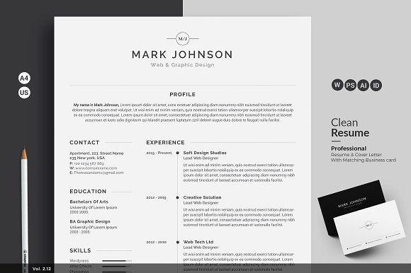 ResumeCv  Resume Cv Template And Adobe Indesign