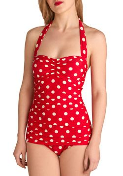 Esther Williams Bathing Beauty One Piece in Red | Mod Retro Vintage Bathing Suits | ModCloth.com