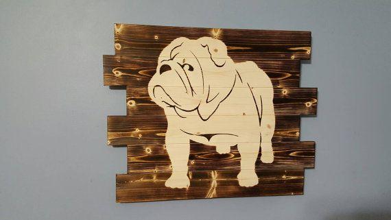 Bulldog Wooden Rustic Wall Art English Bulldog   Rustic wall art ...