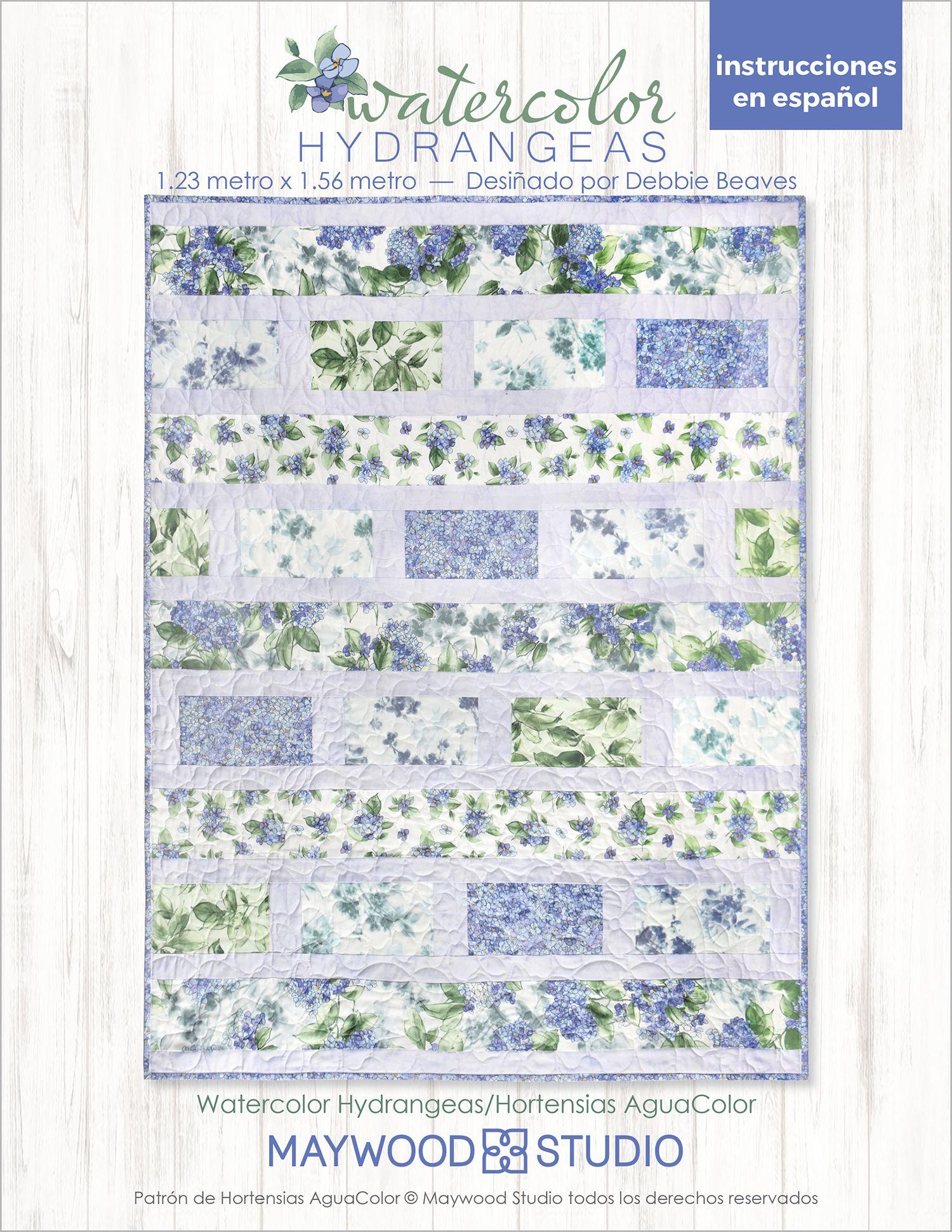 Watercolor Hydrangeas Free Pattern En Espanol Quilt Sewing