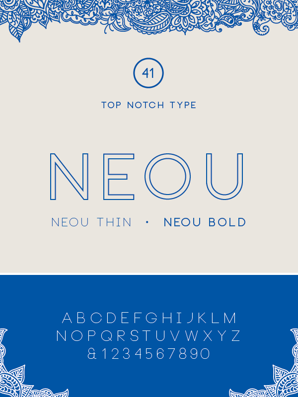 Font: Neou Number of Styles: 2 (thin, bold) Classification: Sans